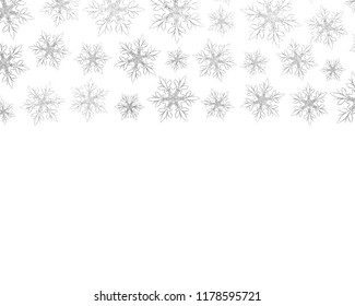 Silver snowflakes on white isolated background.