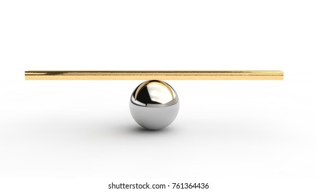 a silver sphere and a balancing rod on it. The idea of balance and precision. The ideal of perfectionist. 3D rendering on white background.