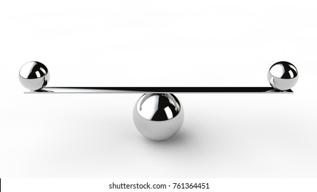 a silver sphere and a balancing rod with small  the metal balls. The idea of balance and precision. The ideal of perfectionist. 3D rendering on white background.
