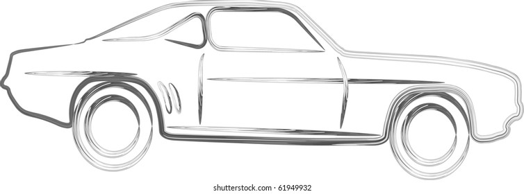 Silver sport Car design in 3D outline illustration
