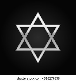 Silver Star of David icon on black background