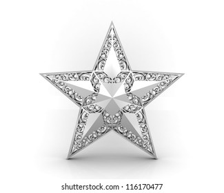 Silver star with ornaments isolated on a white background