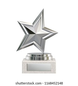 Silver star trophy award isolated on white. 3D rendering with clipping path