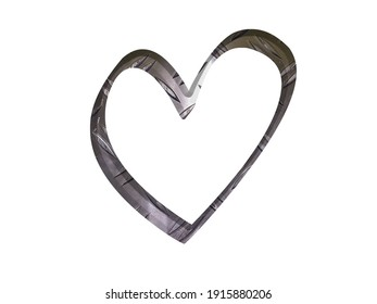 Silver steel metal heart , metallic design element, isolated, industrial surface, hard texture, 3 d illustration, love