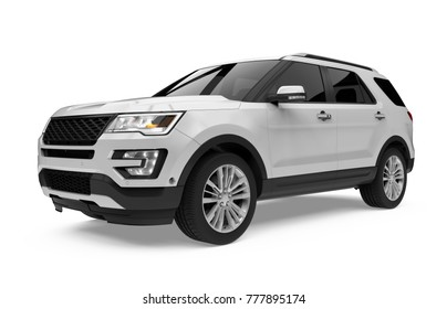 Silver SUV Car Isolated. 3D rendering