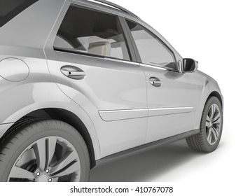 Silver Suv on white background, 3D illustration