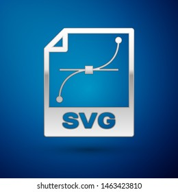 Silver SVG file document icon. Download svg button icon isolated on blue background. SVG file symbol