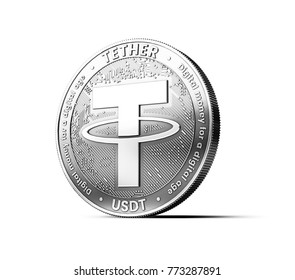 Silver Tether (USDT) coin isolated on white background. Concept coin. 3D rendering
