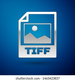 Silver TIFF file document icon. Download tiff button icon isolated on blue background. TIFF file symbol