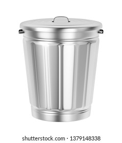 Silver trash can isolated on white background, 3D illustration