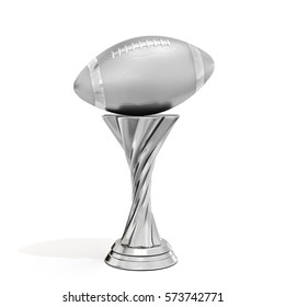 silver trophy with football ball on white background 3D illustration