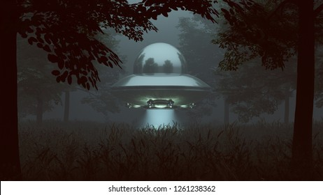 Silver UFO Hovering in a Grassy Wooded Clearing with a Beam of Light 3d illustration 3d render