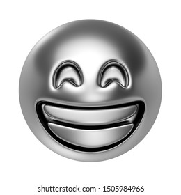 Silver very happy emoji isolated on white background. Minimal design art. 3d illustration.