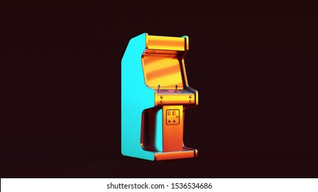 Silver Vintage Arcade Console with Red Orange and Blue Green Moody 80s lighting 3d illustration 3d render