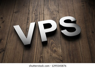 Silver VPS sign with lettering angled on rustic wooden boards with copy space to advertise a Virtual Server network or database. 3d Rendering