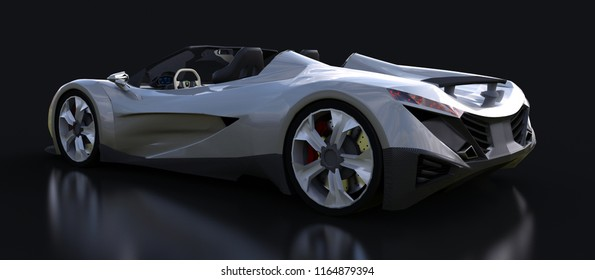 Silvery conceptual sports cabriolet for driving around the city and racing track on a black background. 3d rendering