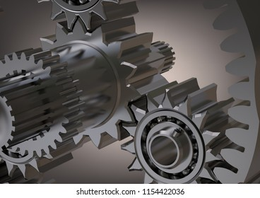 Silvery planetary gear on a gray background. 3D rendering