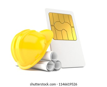SIM card with blueprints isolated on white background. 3d illustration