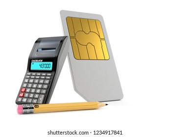 SIM card with calculator and pencil isolated on white background. 3d illustration