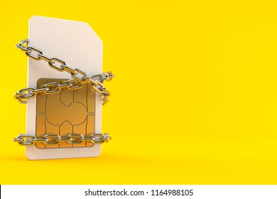 SIM card with chain isolated on orange background. 3d illustration