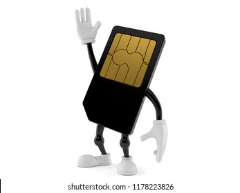 SIM card character with hand up isolated on white background. 3d illustration