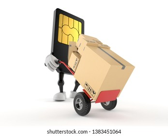 SIM card character with hand truck isolated on white background. 3d illustration