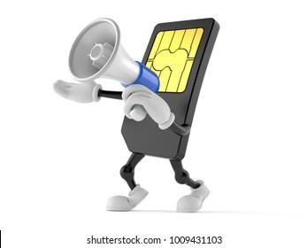 SIM card character holding megaphone on white background. 3d illustration