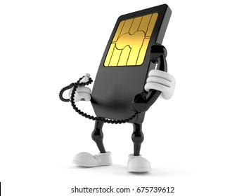 SIM card character holding a telephone handset isolated on white background. 3d illustration
