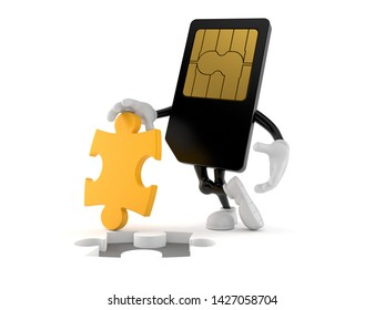 SIM card character with jigsaw puzzle isolated on white background. 3d illustration