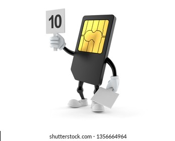 SIM card character with rating number isolated on white background. 3d illustration
