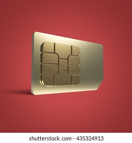 SIM card concept: golden card microchip isolated on color background 3d render reflection effect shadow riveted steel connectivity