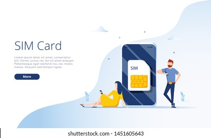 SIM card concept in illustration. Mobile network with esim microchip technology. Web banner layout template. Modern telecom, people using mobile internet and phone. Webdesign ui, ux template
