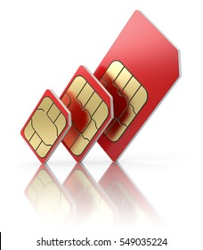 SIM card  in different sizes, standard, micro and nano - 3D illustration