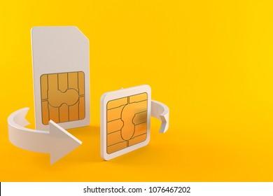 SIM card exchange isolated on orange background. 3d illustration