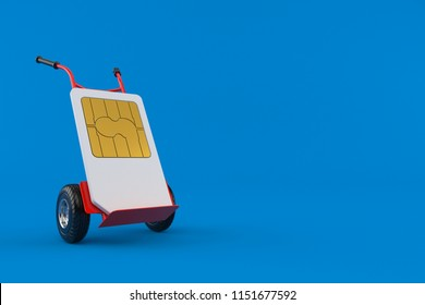 SIM card with hand truck isolated on blue background. 3d illustration