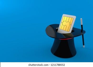 SIM card inside magic hat isolated on blue background. 3d illustration