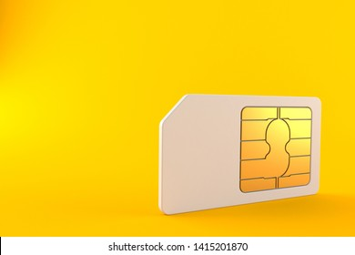 SIM card isolated on orange background. 3d illustration