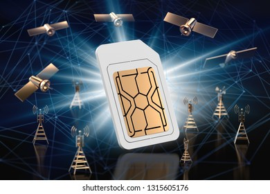 Sim card surrounded by high speed network data transfer nodes. Blurry closeup shot. Fast mobile internet technology concept. 3D rendering