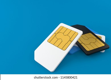 SIM cards isolated on blue background. 3d illustration