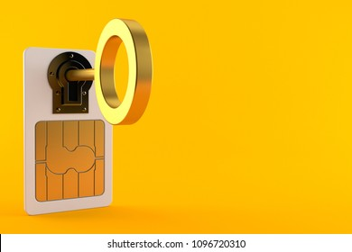 SIM lock concept isolated on orange background. 3d illustration