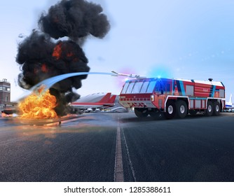 A Simba fire truck for airport security seen in action, fighting fire, 3d render.