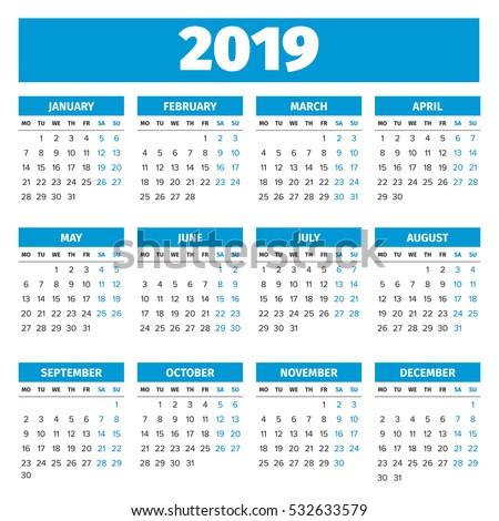 simple 2019 year calendar week starts on monday
