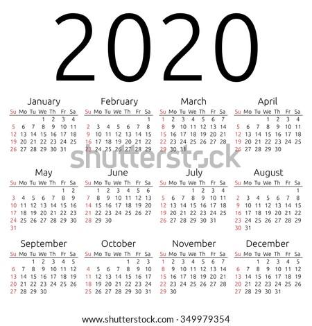 simple 2020 year calendar week starts stock illustration 349979354