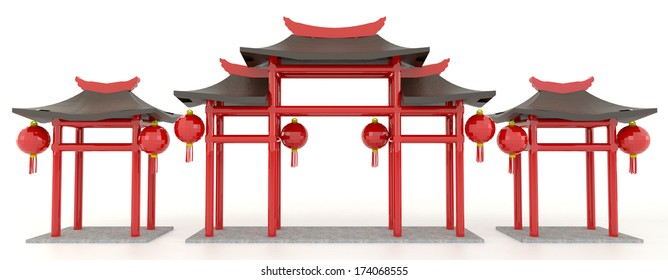 Simple 3D Chinese pavilion gate in white background
