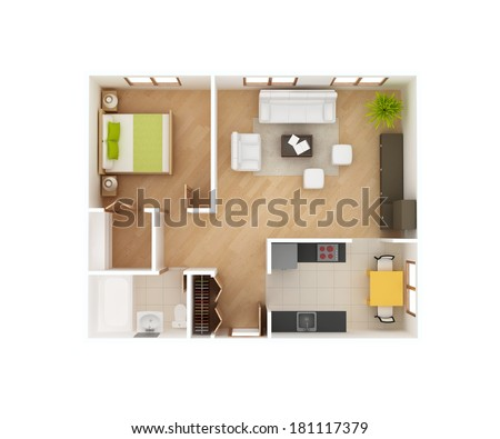 Simple 3 D Floor Plan House Top Stock Illustration 181117379