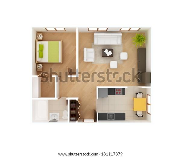 Illustration De Stock De Plan Simple 3d D Etage D Une Vue 181117379
