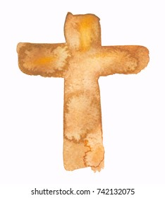 Simple abstract golden brown cross painted in watercolor on clean white background