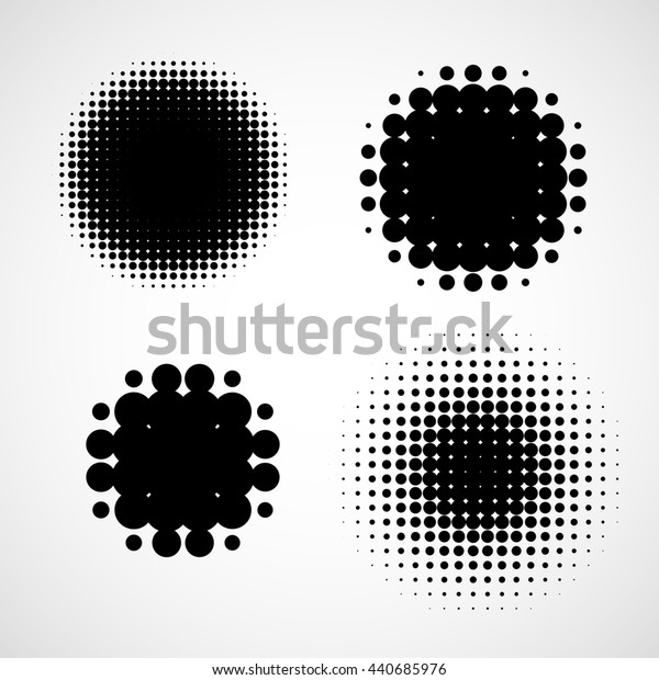 Simple Abstract Halftone Backgrounds. Set of Isolated Halftone Modern Design Element. Black and white raster dots