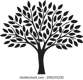 Simple abstract tree with leaves black silhouette illustration isolated on white background
