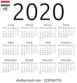 Simple annual 2020 year wall calendar. Hungarian language. Week starts on Monday. Saturday and Sunday highlighted. No holidays highlighted
